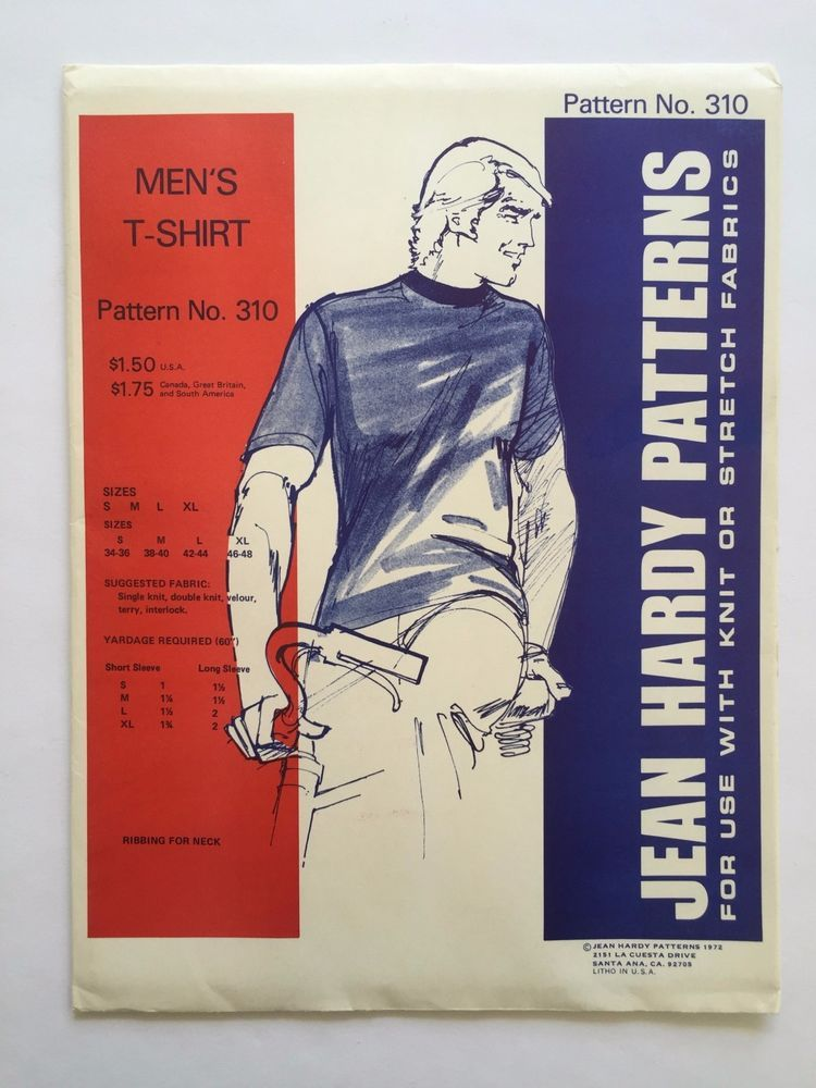 Vintage Jean Hardy Sewing Pattern 310 Men's T Shirt Uncut 1972 Size S  M L XL #JeanHardyPatterns #TShirt