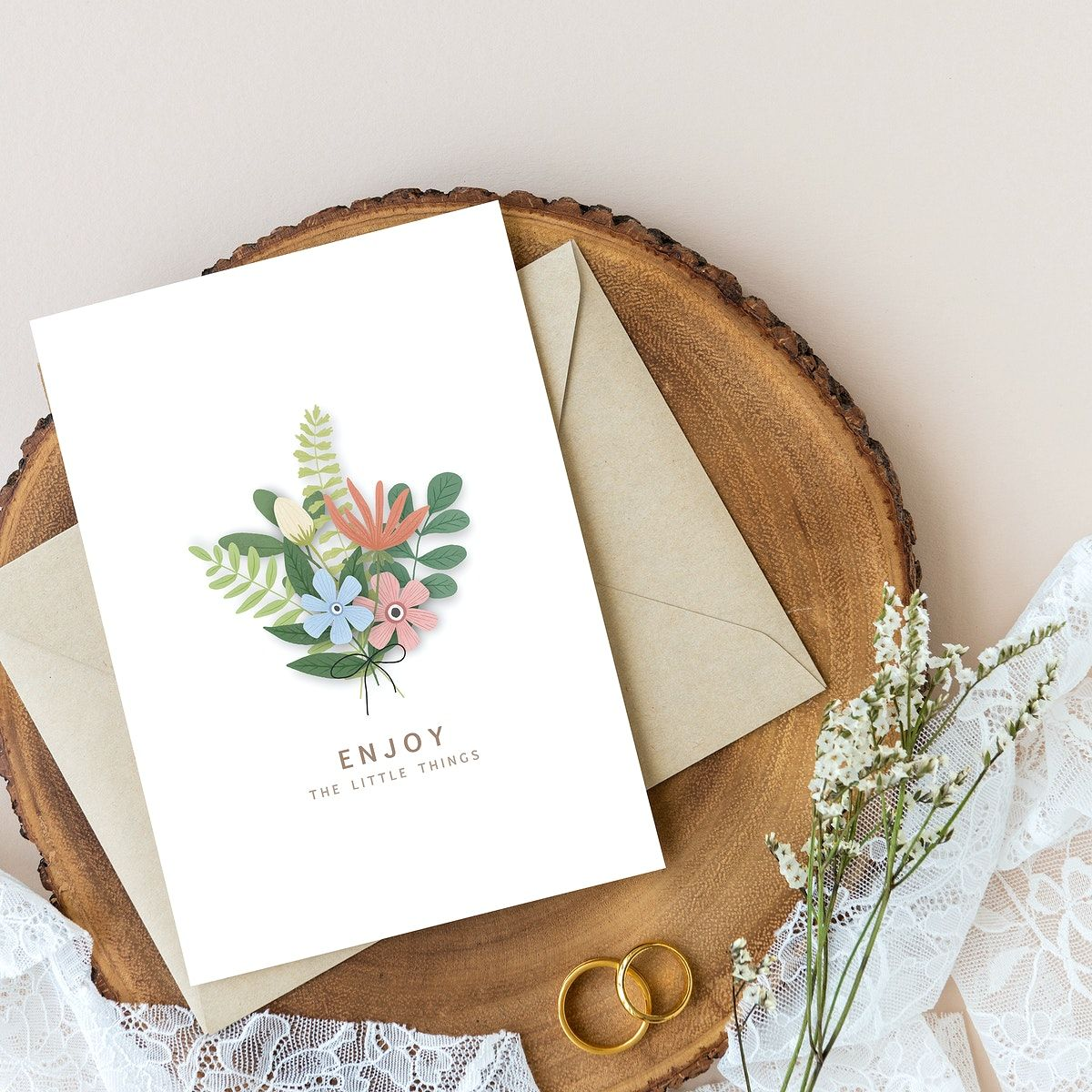 Download Premium Psd Of Blank Floral Card Template Mockup On A Wooden Floral Cards Card Template Card Design