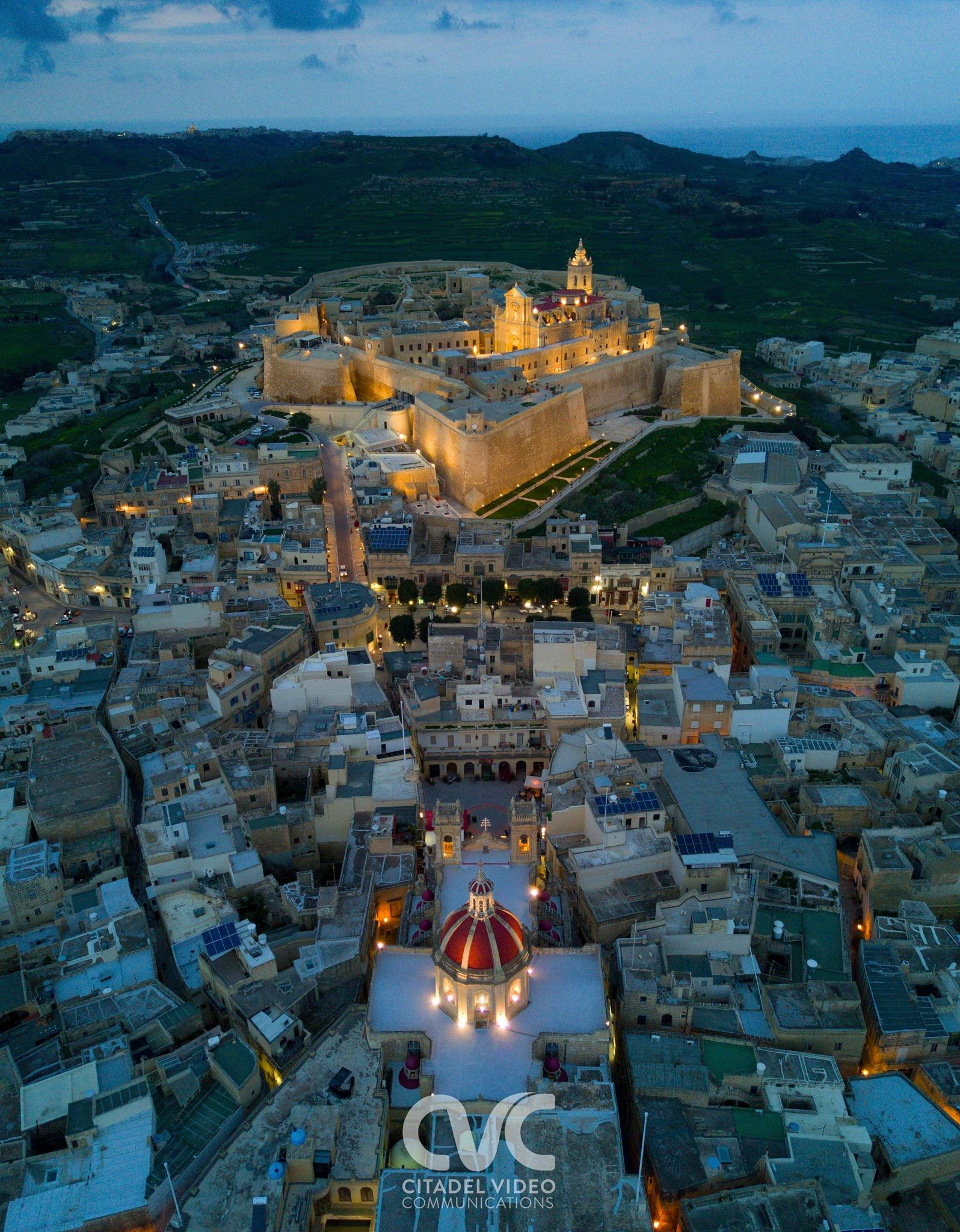 Dusk Over Cittadella - Gozo' Capital City Malta