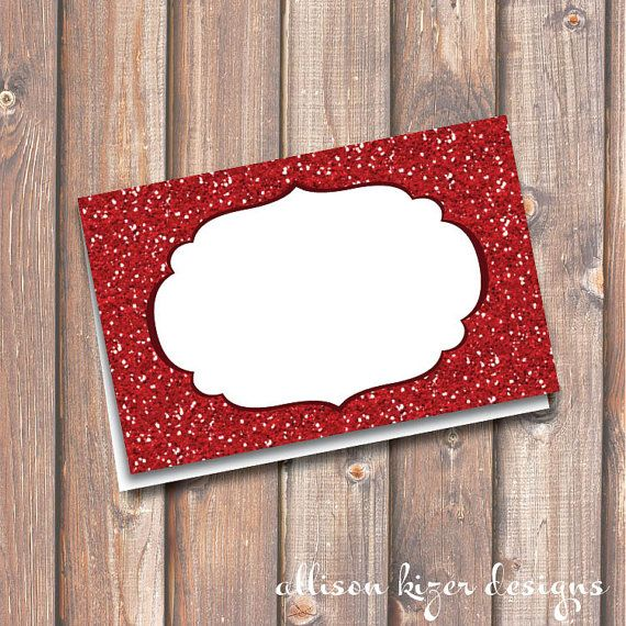 "Red Glitter Place Cards Ruby Red Glitter Printable Food Tags Sparkly Red Place Cards Buffet Cards Menu 3.5x2.25"" Tent-Style INSTANT DOWNLOAD"