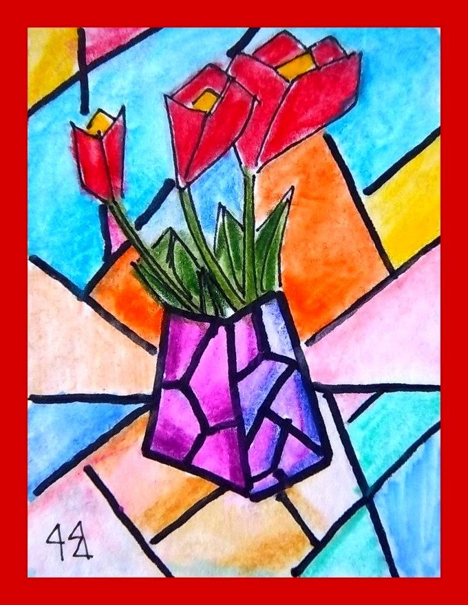 r9 Art: Abstract red flowers
