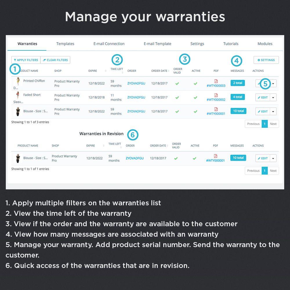 Product Warranty Pro Module Mail template, Warranty
