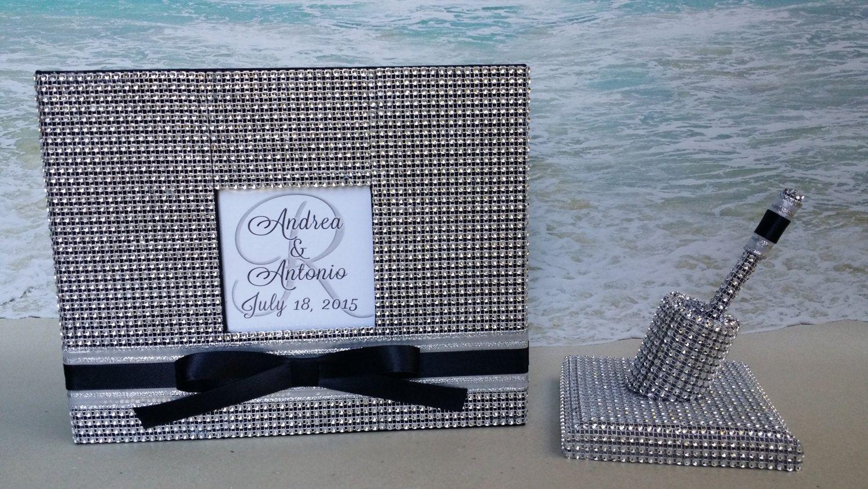 Bling Flower Guest Book Set Guestbook Champagne Pen Wedding, Shower, Birthday, Anniversary, Scrapbook, Etc - Rhinestone Crystal Diamond