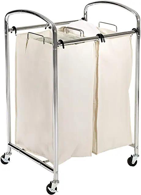Amazon Com Mobile 2 Bag Heavy Duty Laundry Hamper Sorter Cart In 2020 Compact Laundry Laundry Hamper Laundry