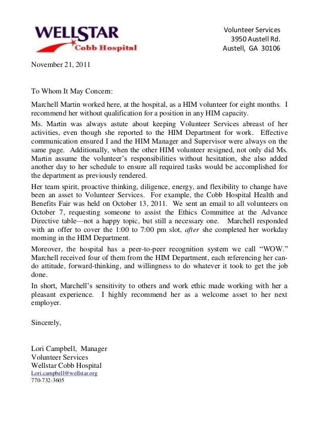 letter of recommendation for volunteer work template