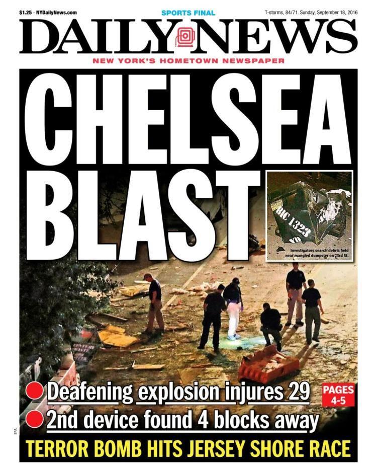 Image result for new york bombing newspaper headline 2016