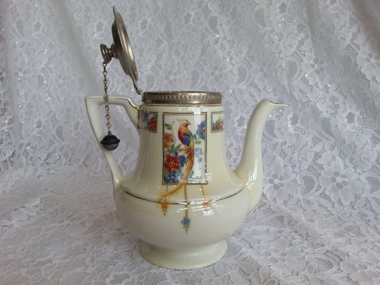 Beautiful vintage bone china teapot sugar and creamer with ribbing and gold embellishment