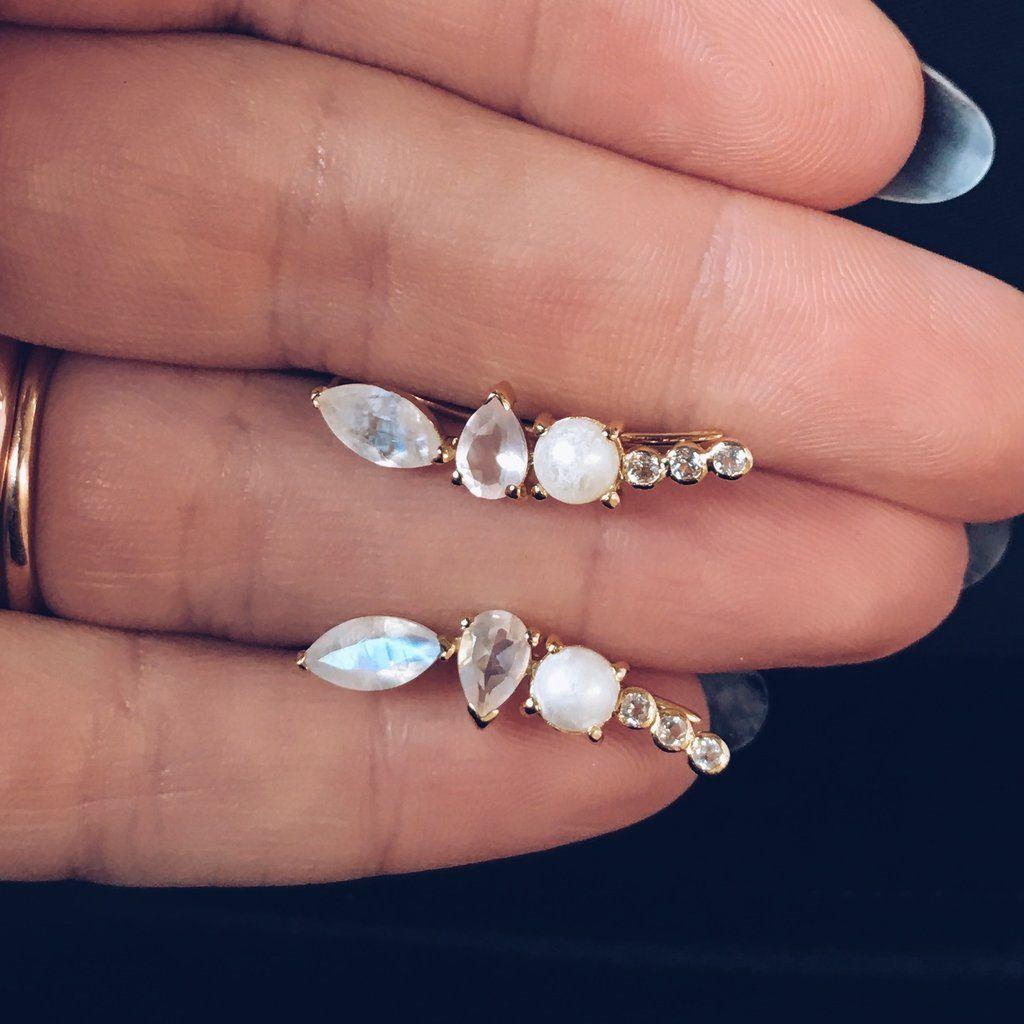 29b95a54d Moonstone & Opal Wing Ear Climbers | Jewels & Gems | Jewelry ...