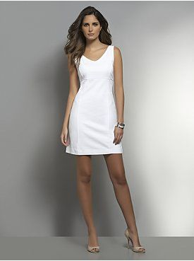 Solid Sleeveless V-Neck Dress from New York & Company