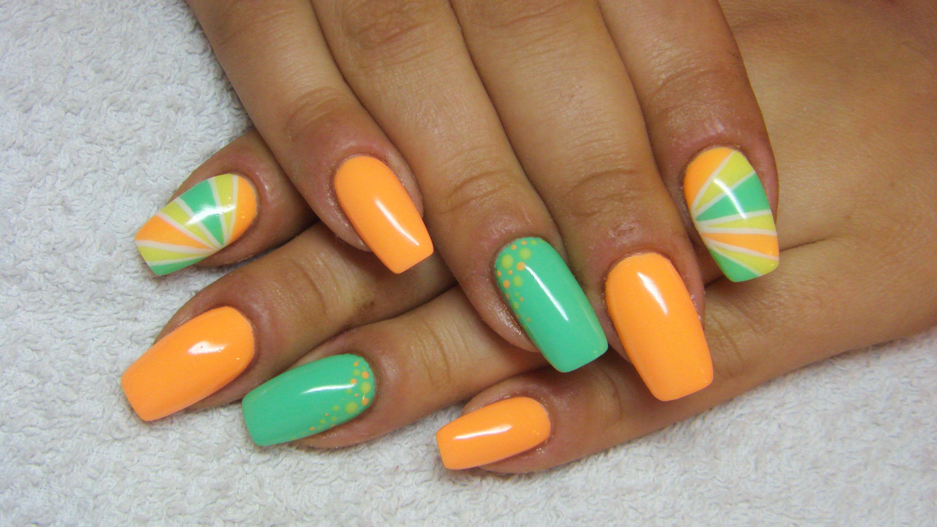 Orange And Green Nails Green Nail Designs Orange Nails Trendy Nail Art