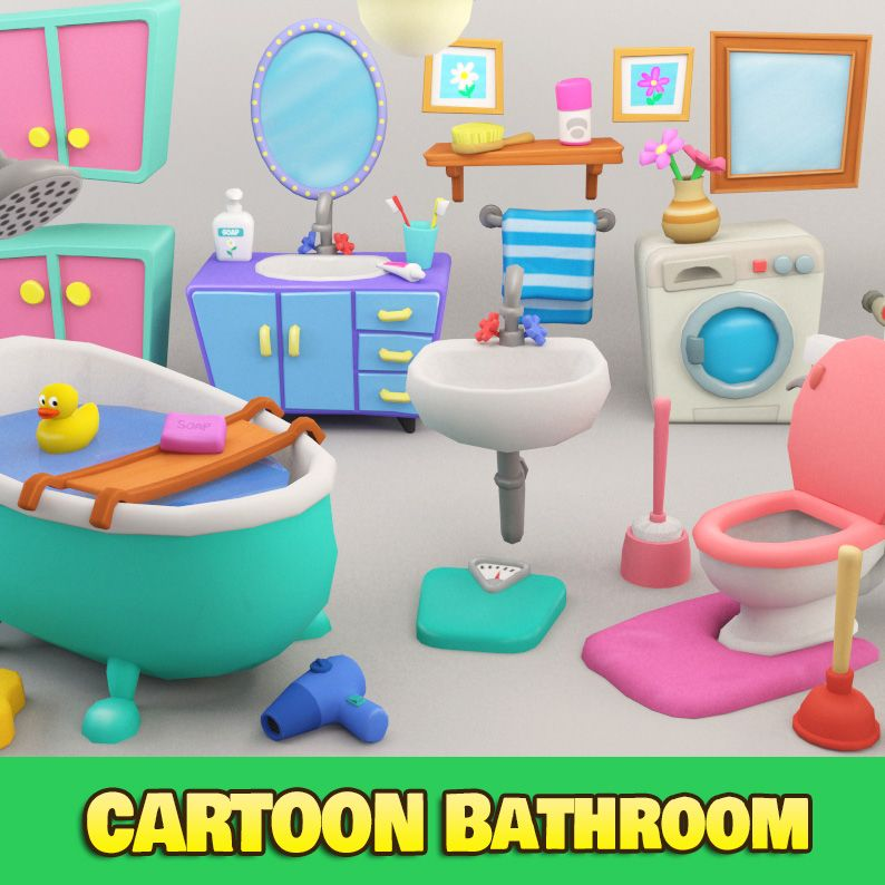 Cartoon Bathroom Package Low Poly 3d Model Ready For Games And