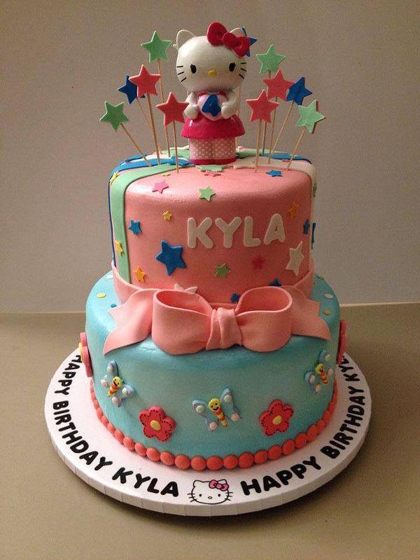 hellokittycake6 Tiered birthday cakes