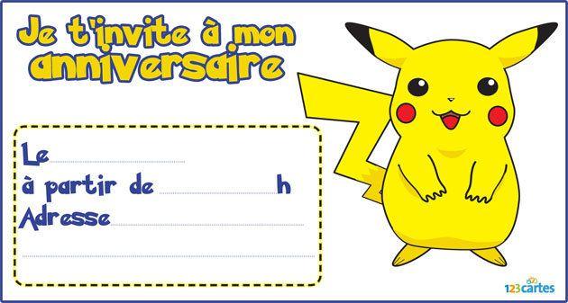invitation anniversaire pokemon pikachu