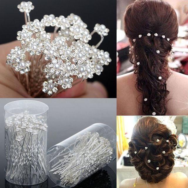 6 Bridal Wedding Prom Crystal Diamante Pearl Flower Hair Pins Clips Grips