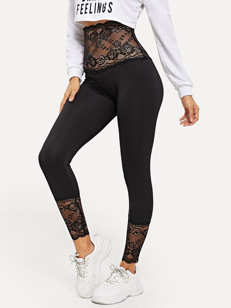 Contrast Lace Sheer Leggings Fashion Clothing Shoes