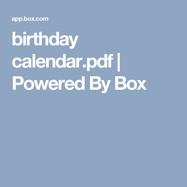 Birthday CalendarPdf  Powered By Box  Perpetual Birthday