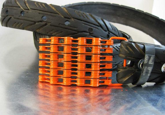 Recycled Bike Chain Belt Buckle Curved Orange Finish Bike