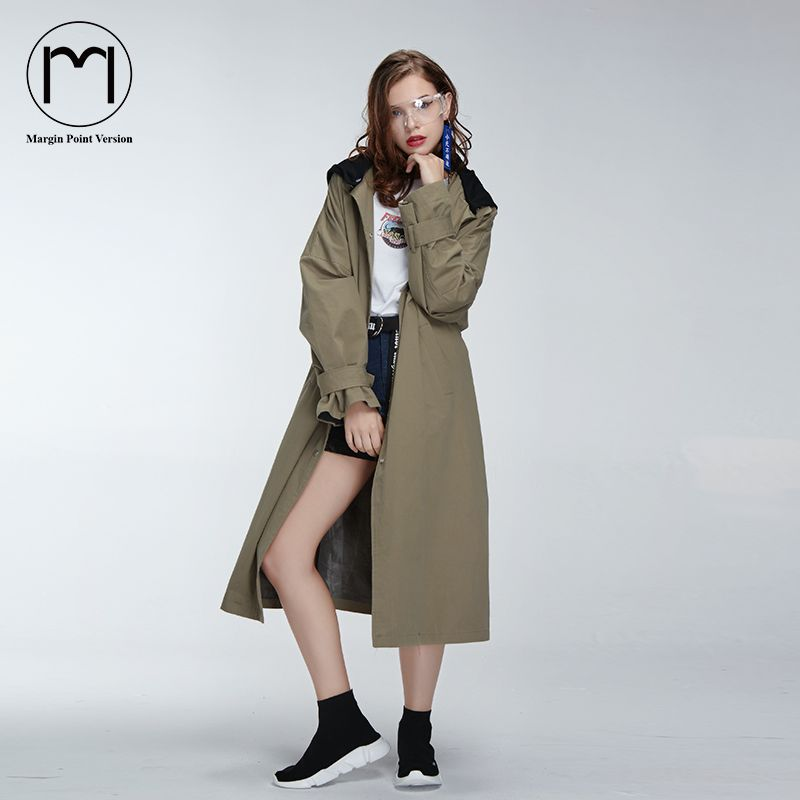 36d661e6344 Margin 2017 New High Street Streetwear Women Girls Street Long Trench Coat  Ladies Casual Back Print Hooded Long Coats. Yesterday s price  US  49.99  (41.32 ...