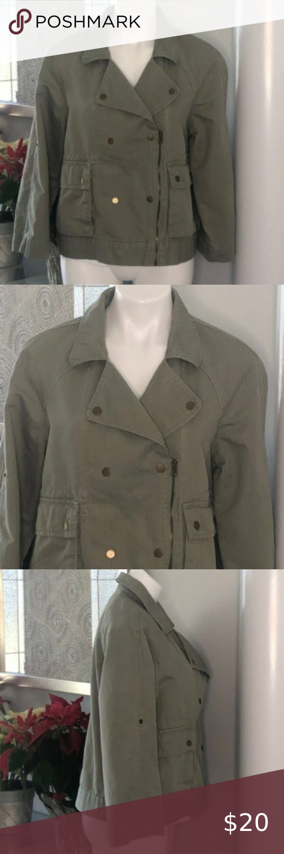 """LOFT Green Utility Linen Blend Moto Jacket, Size M This LOFT moto jacket features an olive body, zipper and button closure, two front fold pockets, two side pockets, roll-tab sleeves and collared neckline. Size: M Measurements laying flat (approximate): *Chest: 21"""" *Length: 22"""" Condition: Preowned. Excellent used condition. Smoke-free, pet-friendly home. (W10813) LOFT Jackets & Coats"""