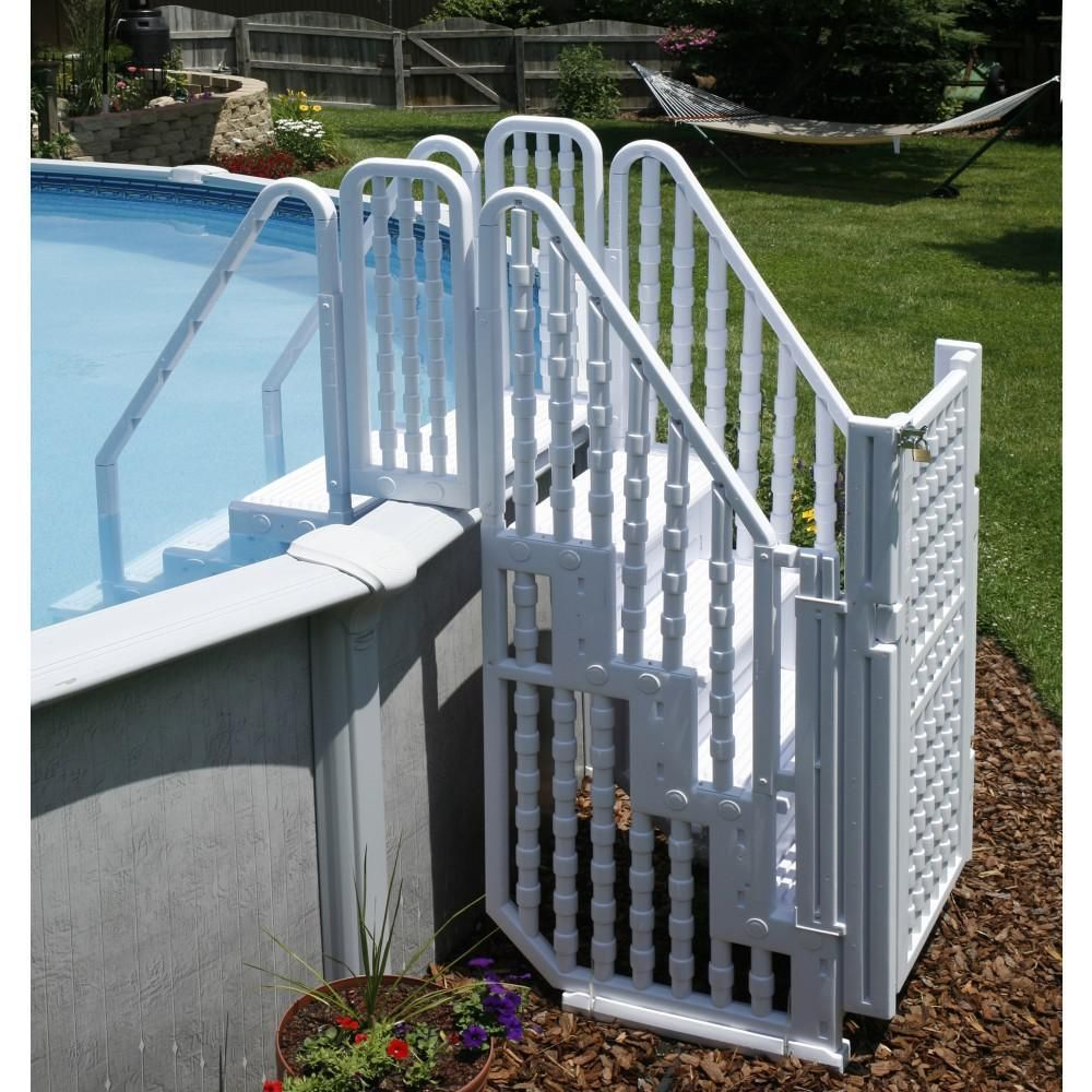 Sku Ne138 Category Home Complete Stair Entry System W Gate Designed To Fit Either 48 To Pool Steps Above Ground Pool Steps Backyard Pool Landscaping