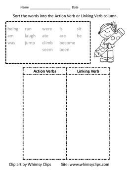 Action Verb and Linking Verb Sort Worksheet | Linking verbs ...