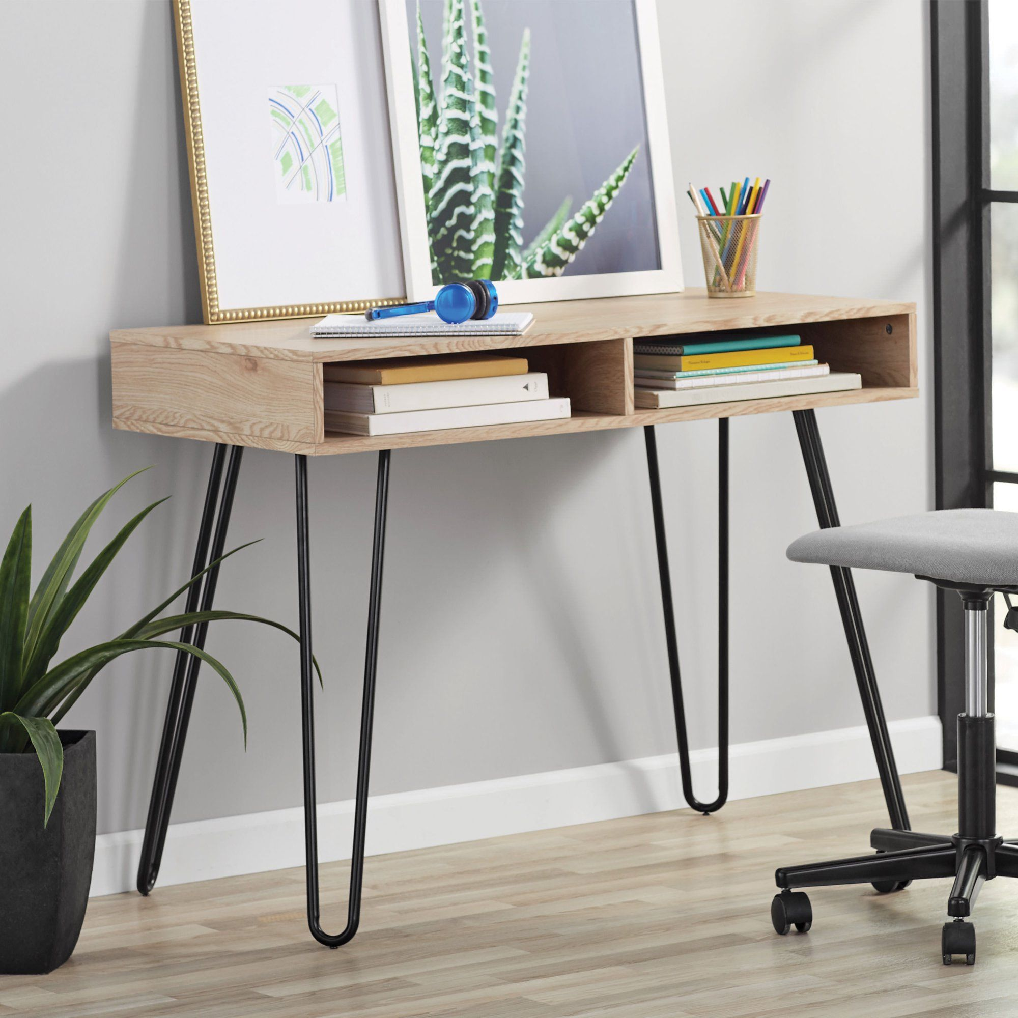 Mainstays Hairpin Writing Desk Multiple Finishes Walmart Com In 2020 Desk With Drawers Desks For Small Spaces Writing Desk With Drawers
