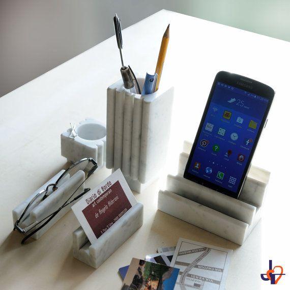 iPhone Docking Station of real white Carrara marble BERNINI SLOT 3