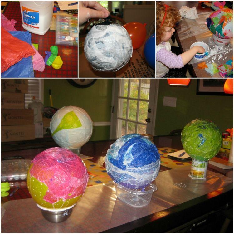 laterne basteln luftballons anleitung farbig seidenpapier. Black Bedroom Furniture Sets. Home Design Ideas