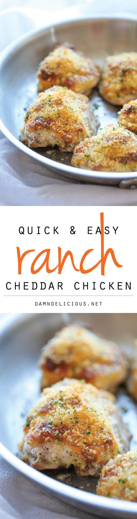 {USA} Ranch Cheddar Chicken - The quickest and easiest baked chicken with an amazingly creamy, cheesy Ranch topping!