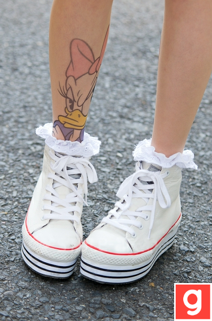 cute flatforms with a tattoo