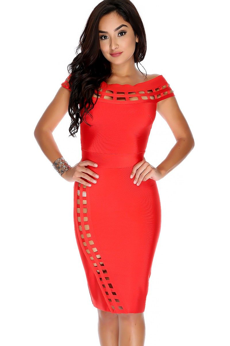 Sexy red short sleeves cage accent knee length bandage party dress