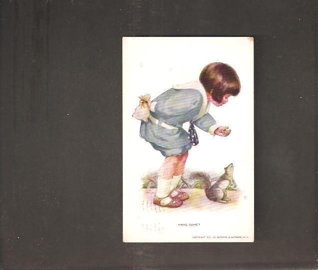 """Bessie Pease Gutmann, Illustrator, """"Have Some"""", circa 1914, vintage postcard.  Child feeding Squirrel."""