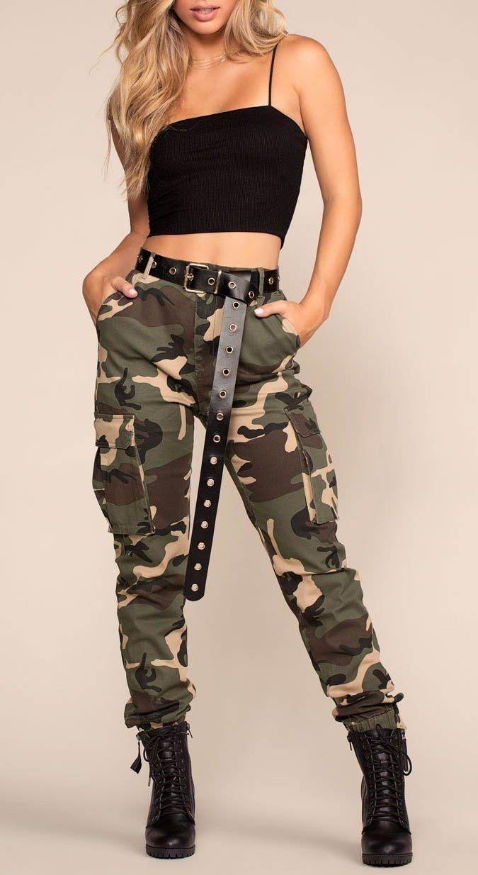 Hermoso outfit con pantalón militar en 2020   Ropa tumblr ...