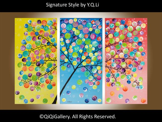 """Abstract Impasto swirls tree painting wall hangings wall decor Home deco decorative art """"Spring Blossom"""" by QIQIGALLERY"""