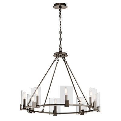 Signata 8 Light Single Tier Large Chandelier Shown In Classic Pewter Dining Room