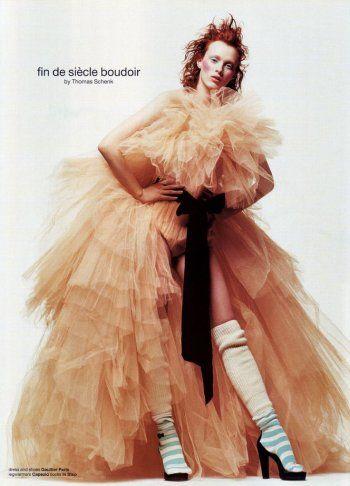 Karen Elson in Jean Paul Gaultier, photographed by Thomas Schenk, 2002