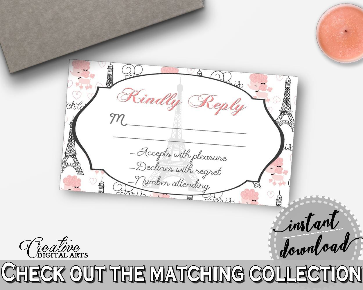 paris bridal shower invitation insert kindly reply in pink and gray insert ticket poodle