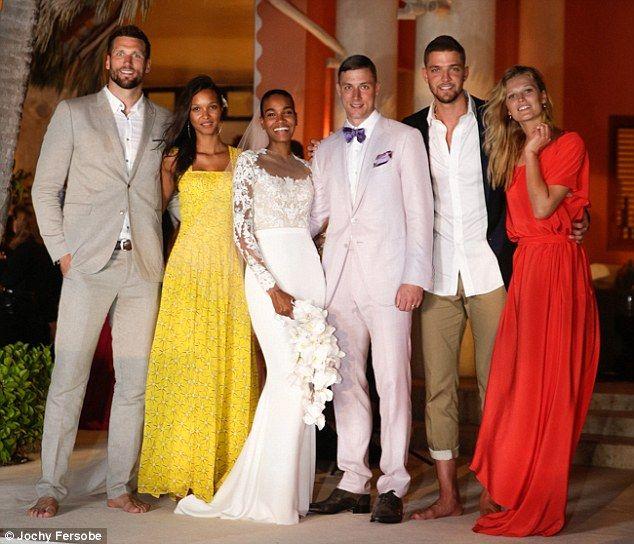 Famous friends: Arlenis Sosa posed alongside her new husband and fellow model Toni Garrn (...