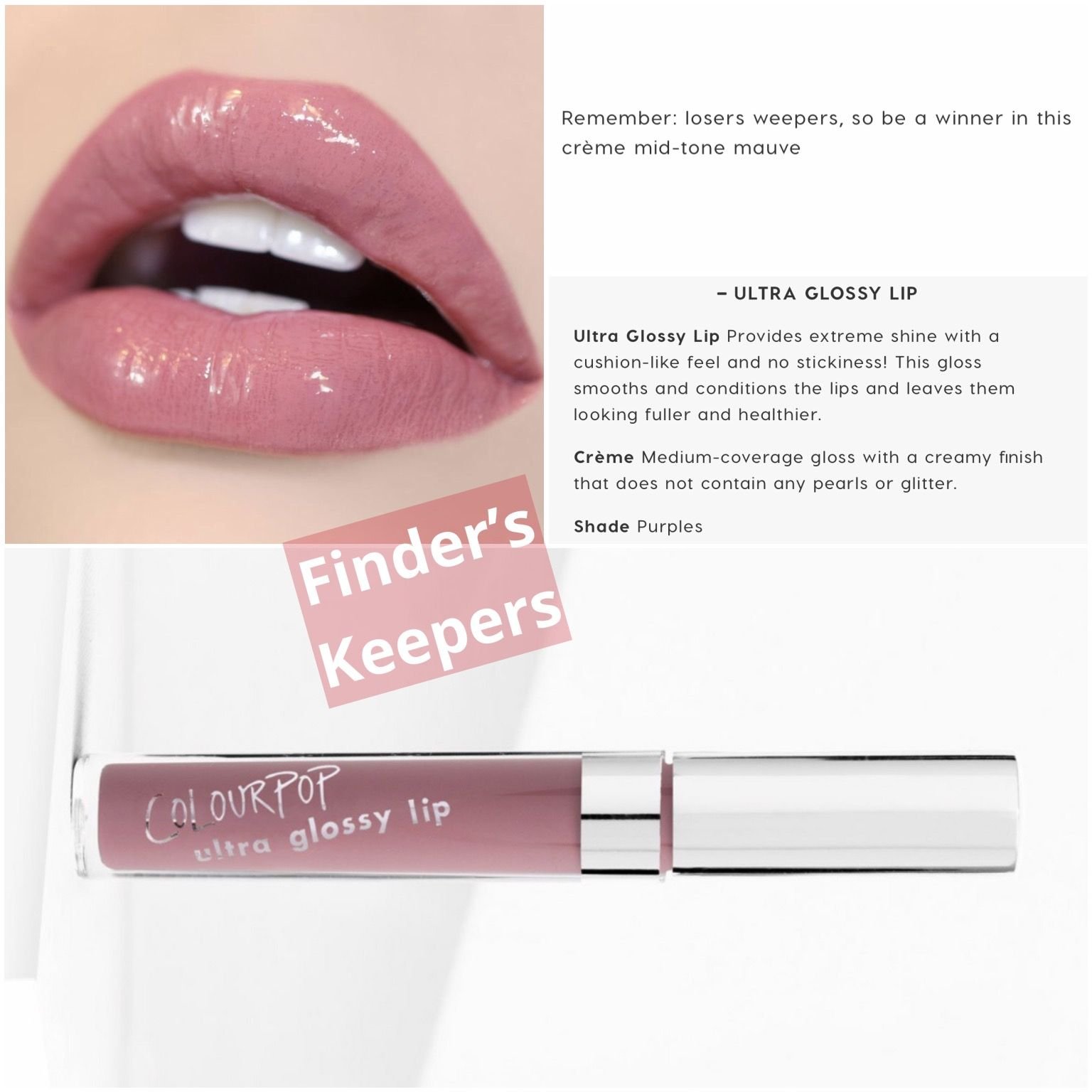 Finder S Keepers Ultra Glossy Lip Colourpop Colourpop