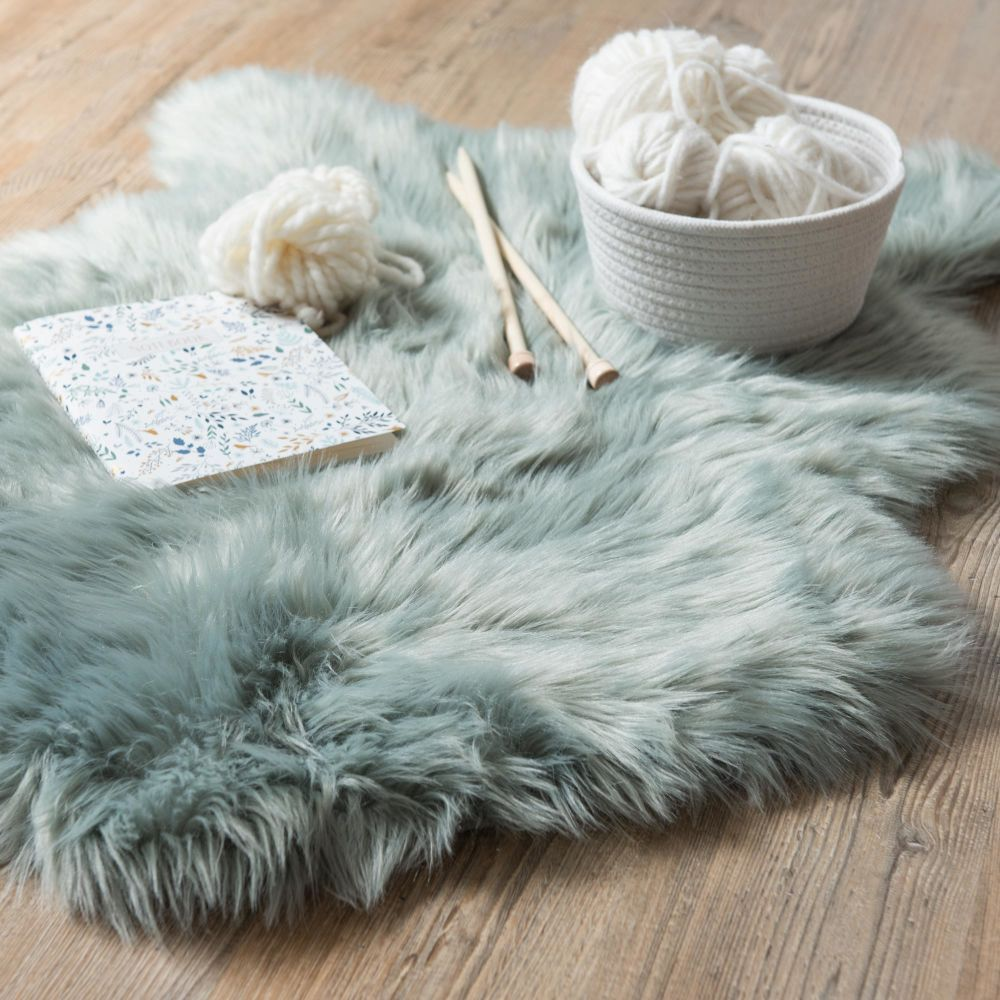 Tapis Mouton Imitation Fourrure Rose 90x60 Grey Faux Fur Rug