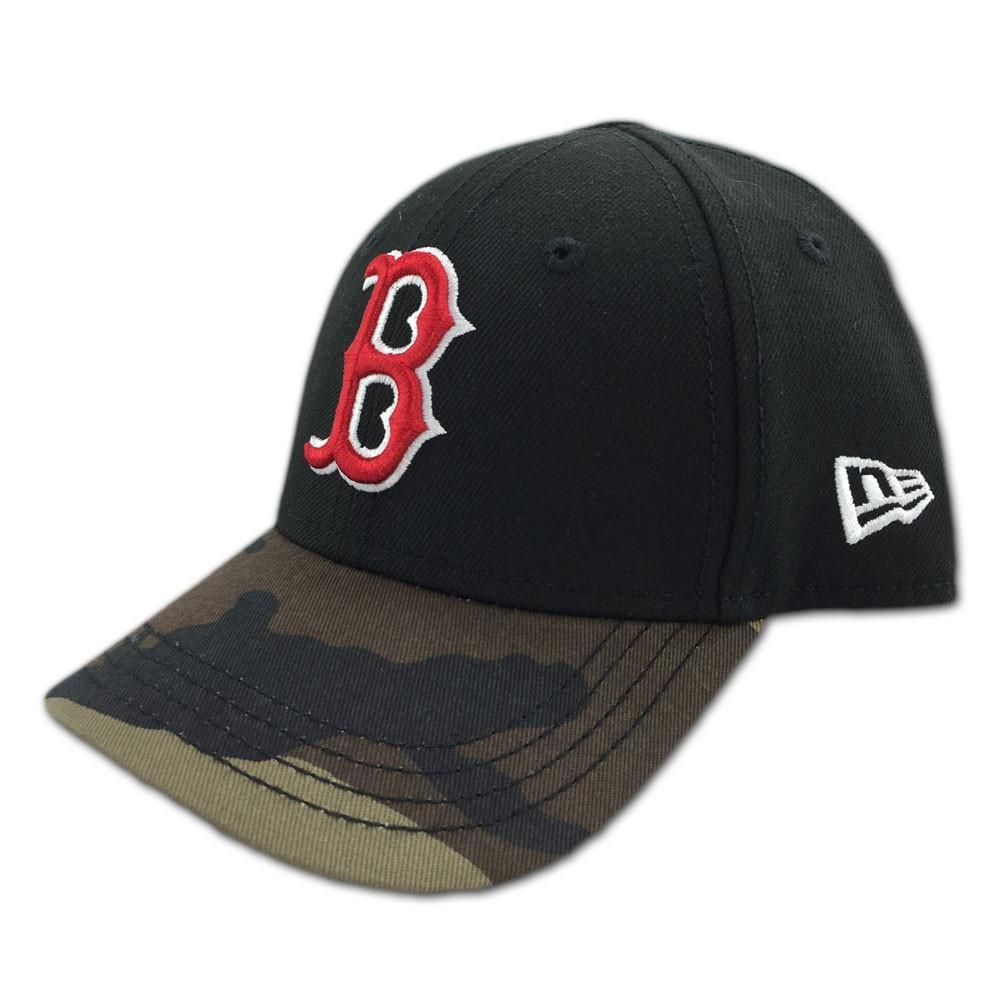 6b181f780 This cool cap combines Boston Red Sox team colors with a camo printed brim.  It features an embroidered team logo on the front and an embroidered New  Era ...