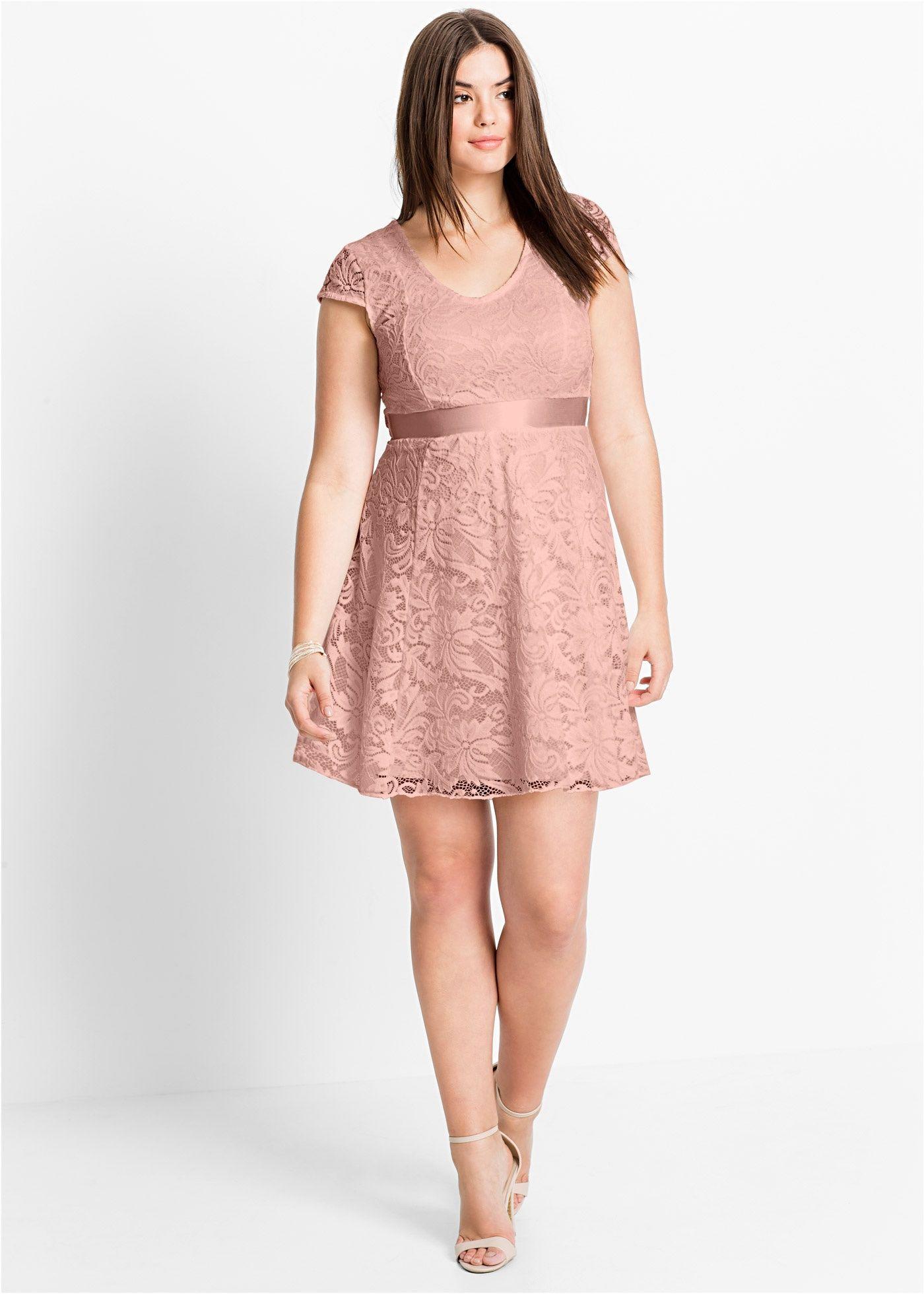 6a1a5d5fc77d08 Jerseykleid mit Spitze vintagerosa - BODYFLIRT jetzt im Online Shop von  bonprix.de ab ?