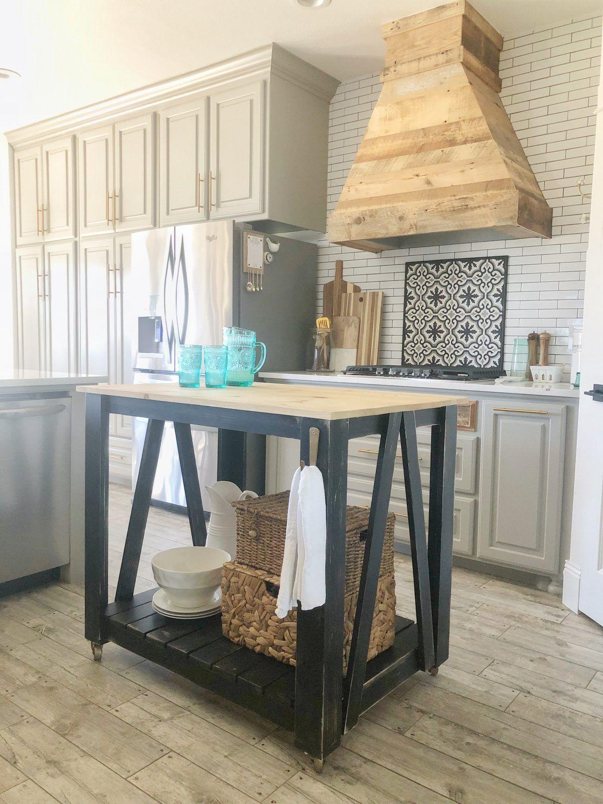 Diy Modern Farmhouse Kitchen Cart Free Plans By Shanty2chic Farmhouse Kitchen Island Portable Kitchen Island Farmhouse Kitchen