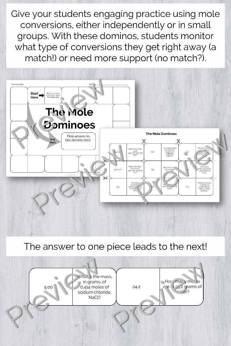 Mole Dominos Engaging Conversion Practice Teaching Chemistry Mole Conversion Small Groups