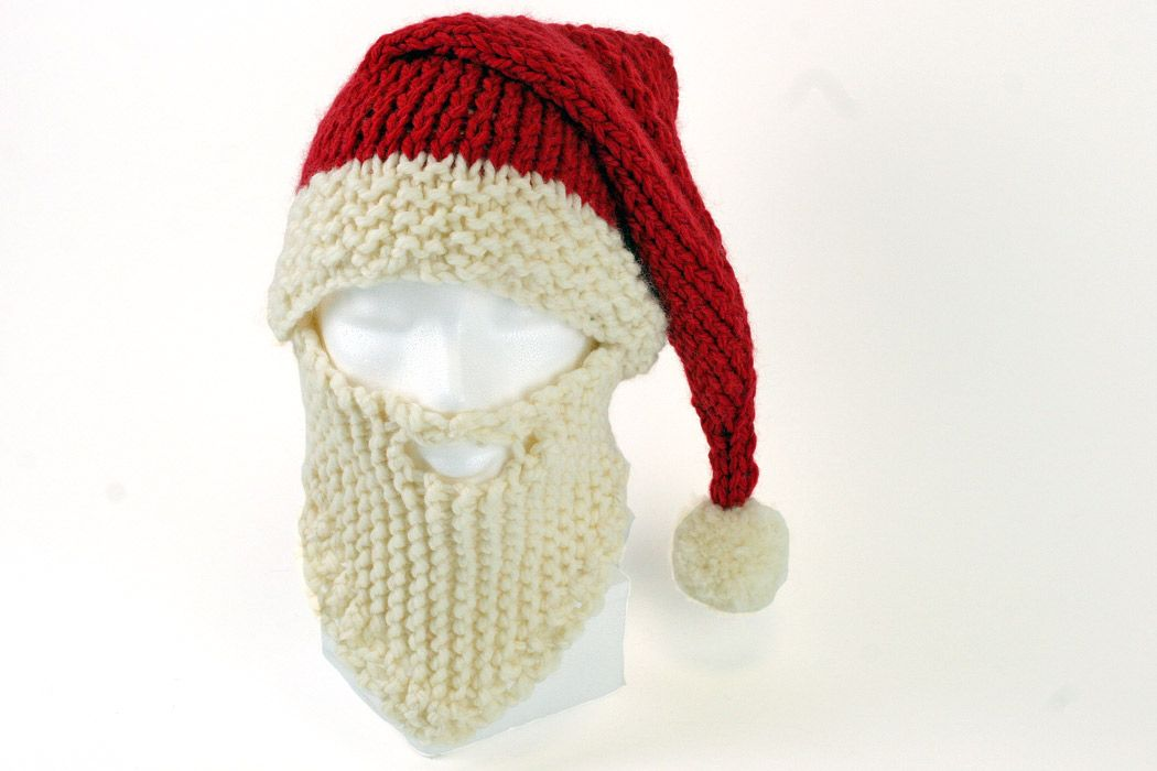 Santa Hat and Beard Knitting Pattern