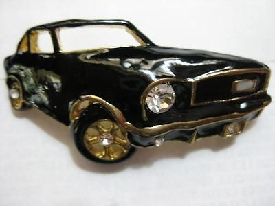 Gold Plate Enameled 1960's Black Car Pin