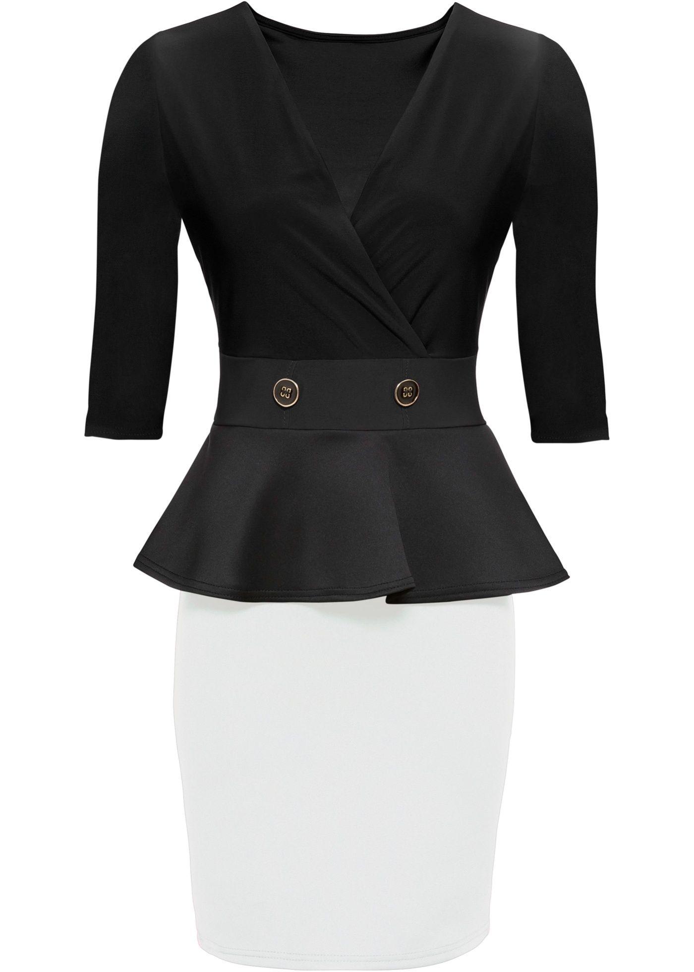 Stretch-Kleid mit Schößchen in 15  Schößchen kleid, Kleider und