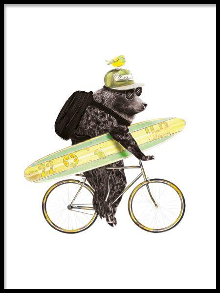 Surfing Bear Plakat I Gruppen Plakater Hos Desenio Ab 8183