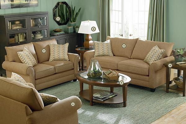 Green Living Room Walls Taupe Sofa
