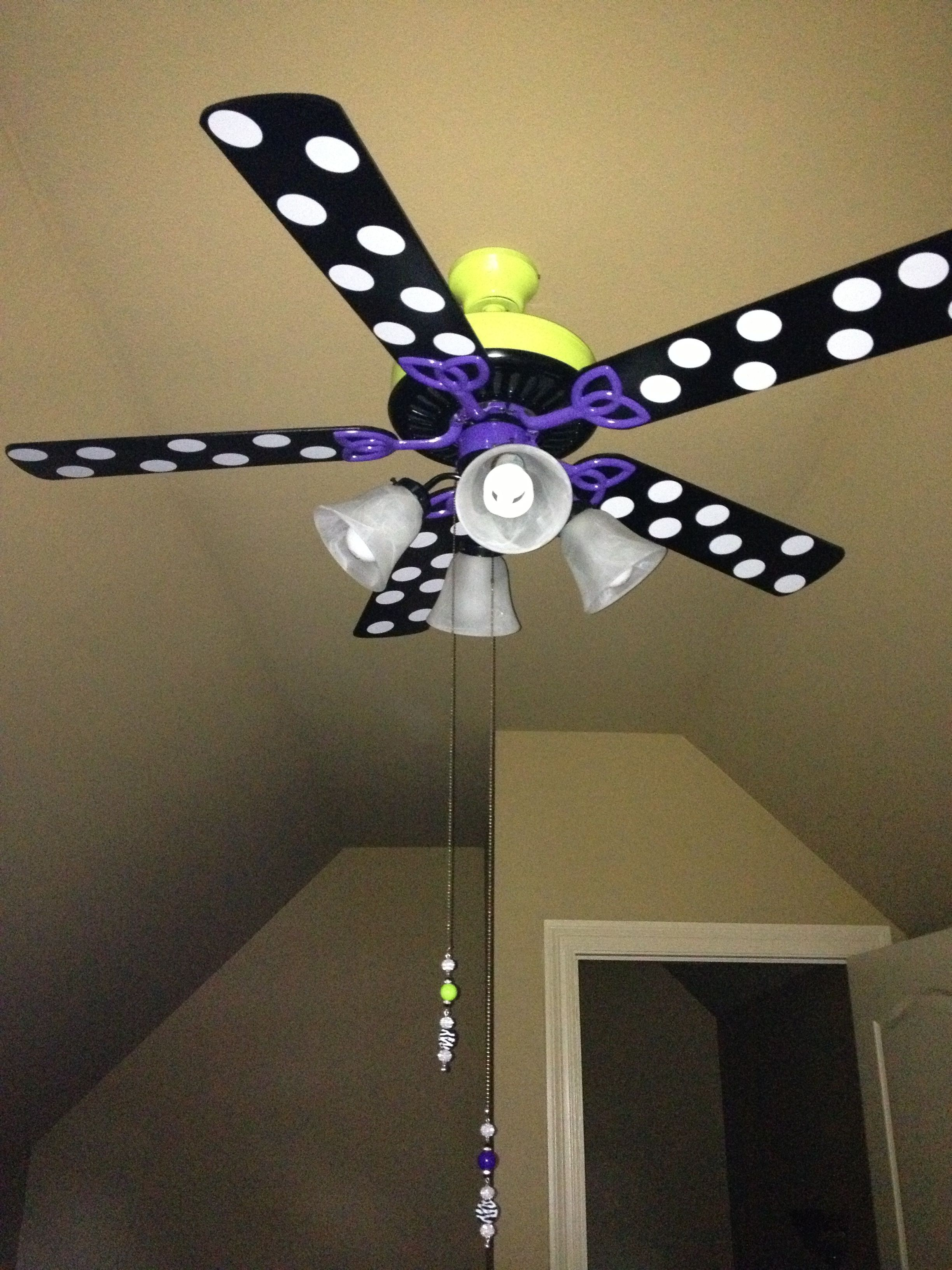 Took An Ordinary Brown Fan And Decorated For Girls Hangout Room Uses Black Purple Neon Green Paint Got Coordinating Pulls From